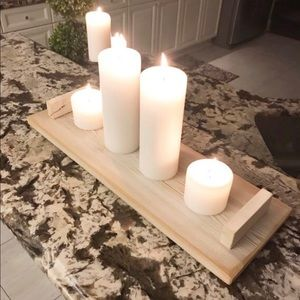Handmade Farmhouse Candle Holder | Small Wood Tray